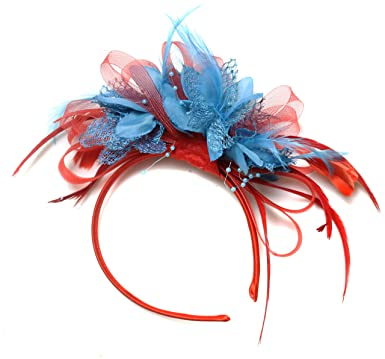 099bcdb07929a Image Unavailable. Image not available for. Color  Red and Aqua Turquoise  Fascinator Headband Net Hoop Feather Hair ...