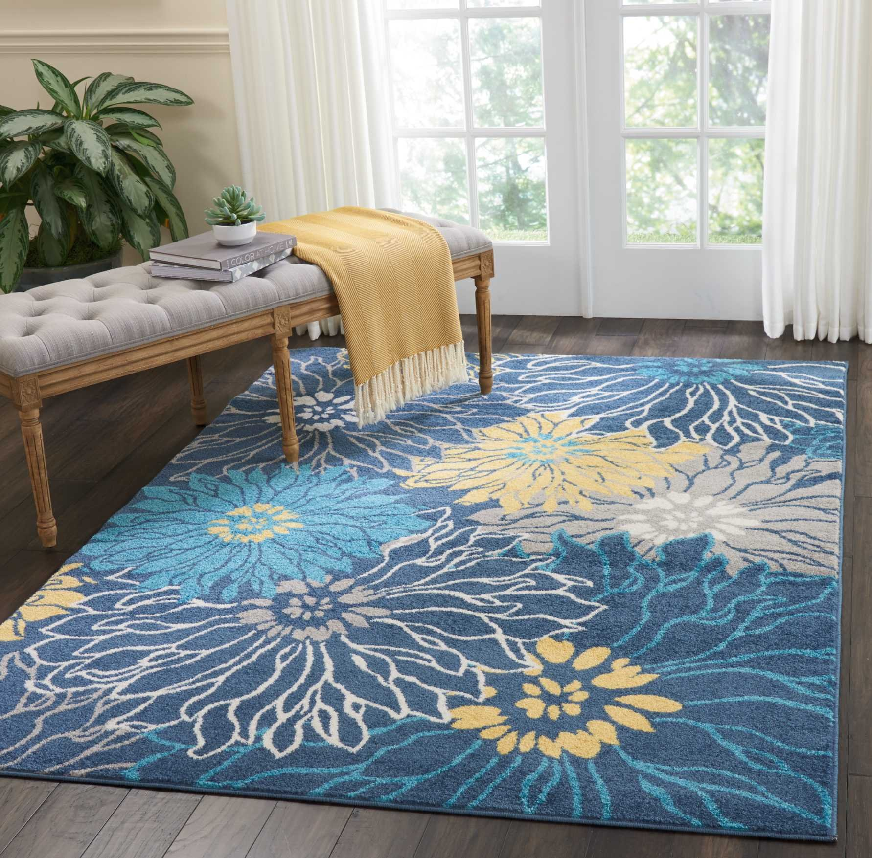 """Nourison  Passion Area Rug, 5'3"""" x7'3, BLUE - SOFT TO THE TOUCH: .5"""" pile height and polypropylene fibers are inviting underfoot STAIN RESISTANT, FADE RESISTANT:  No shedding and easy to clean MODERN, FLORAL STYLE: Colorful, bold, borderless design - living-room-soft-furnishings, living-room, area-rugs - 910koLwleSL -"""