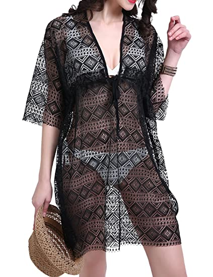 b9088bf17f2 Ggloves Summer Beach Cover Ups for Women V-Neck Sexy Lace Tunic ...