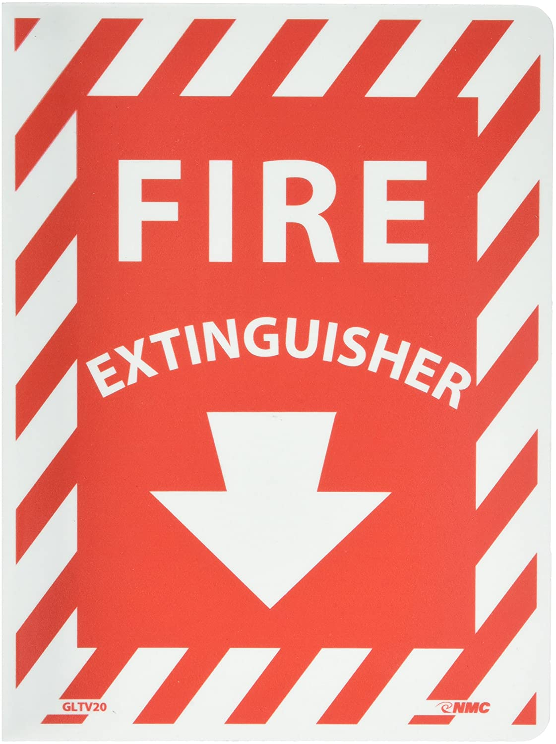 NMC GLTV20 Fire Sign 9 Length x 12 Height Legend FIRE EXTINGUISHER with Down Arrow Graphic Glow Rigid Red on White