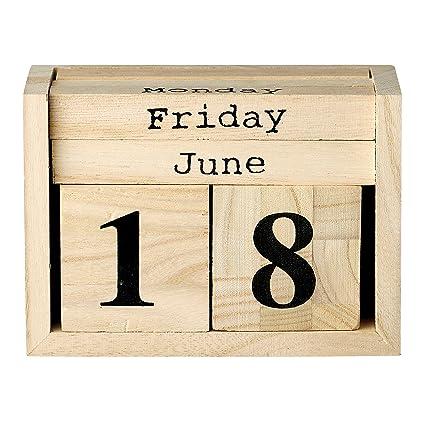 Amazon Com Bloomingville Paulownia Wood Perpetual Calendar Home