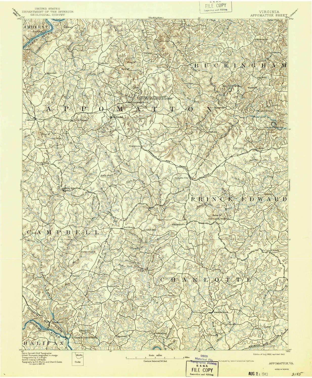 YellowMaps Appomattox VA topo map, 1:125000 Scale, 30 X 30 Minute, Historical, 1892, Updated 1943, 20 x 16.5 in