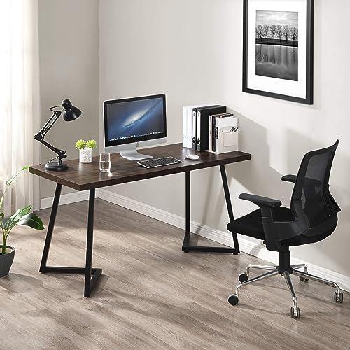 FIVEGIVEN Home Office Desk Large Computer Desk Study Writing Desk Table Wood Metal - a good cheap modern office desk