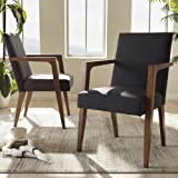 Baxton Studio Andrea Fabric Upholstered Arm Chair in Gray (Set of 2)