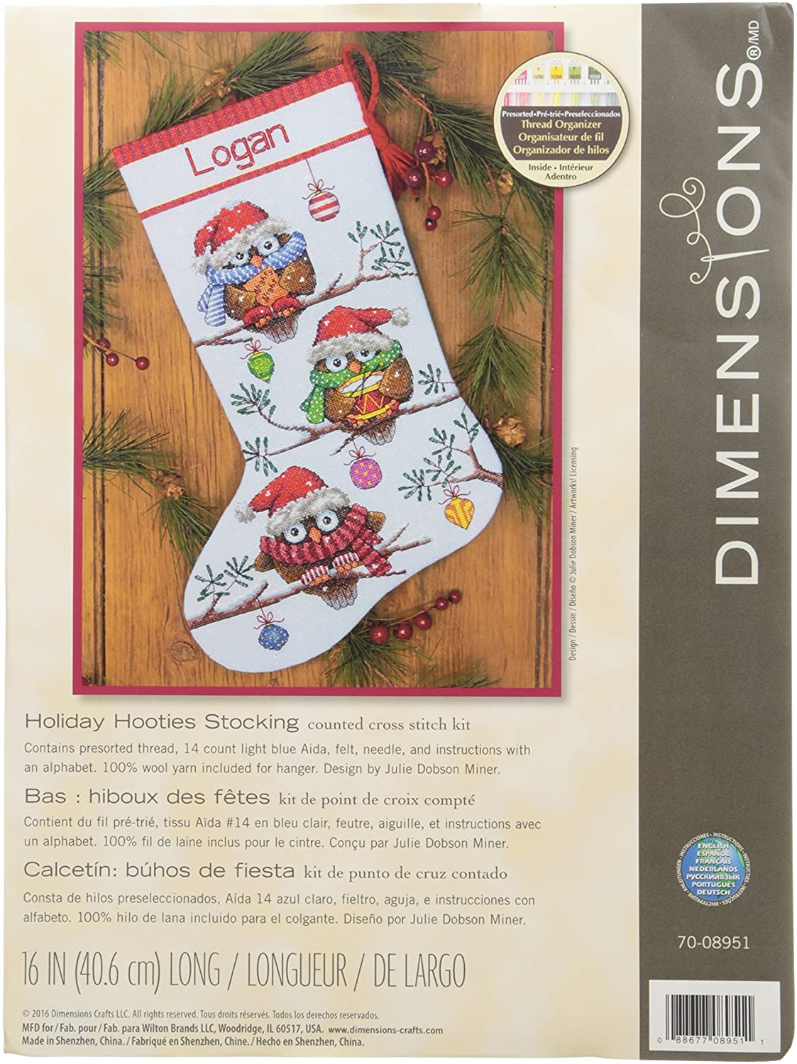 """Trimming The Tree Stocking 16/"""" New Dimensions Needlecrafts Counted Cross Stitch"""