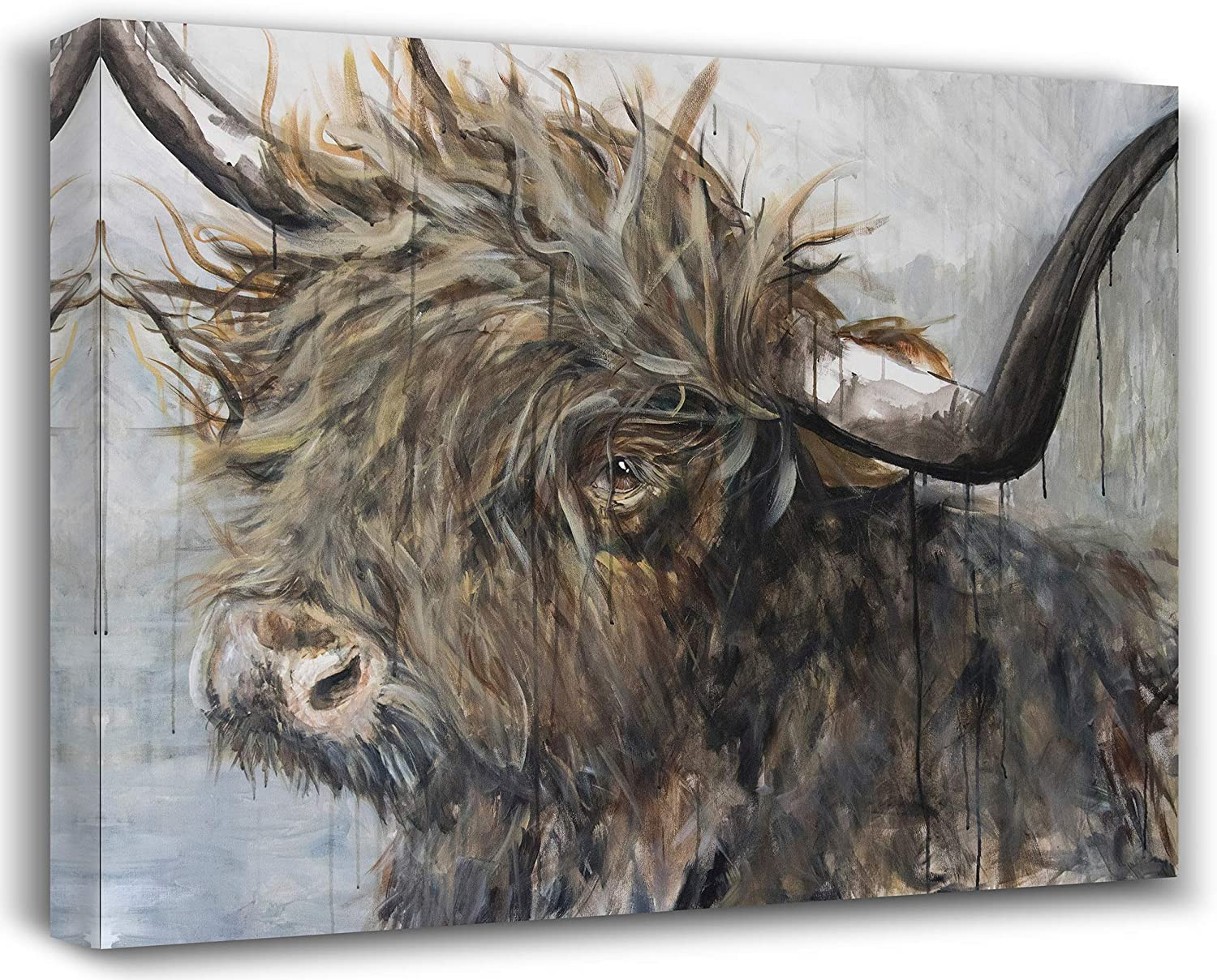 Highland Cow Wall Art SEEN ON HGTV Cow Pictures Wall Decor Canvas 16x20 Freedom Highland Cow Canvas Artwork For Home Decor