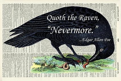 691795e44ee9 EDGAR ALLAN POE 'THE RAVEN' ART PRINT - Gothic Illustration - Black and  White Print - Art Print - Vintage ...