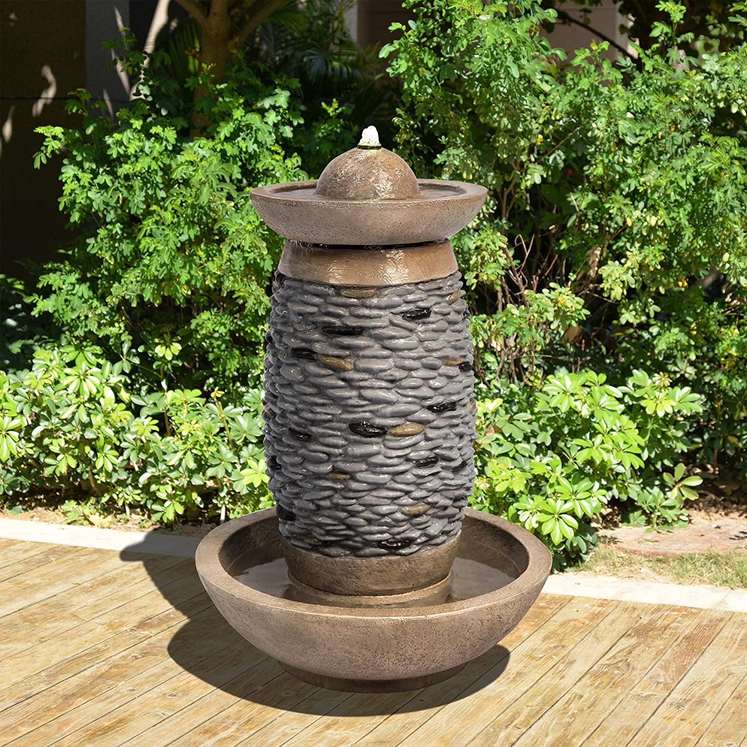 Peaktop VFD8411 Outdoor Garden Patio Backyard Decking Cobblestones with Sphere Stone Floor Waterfall Water Fountain with LED Light and Pump, Brown and Gray