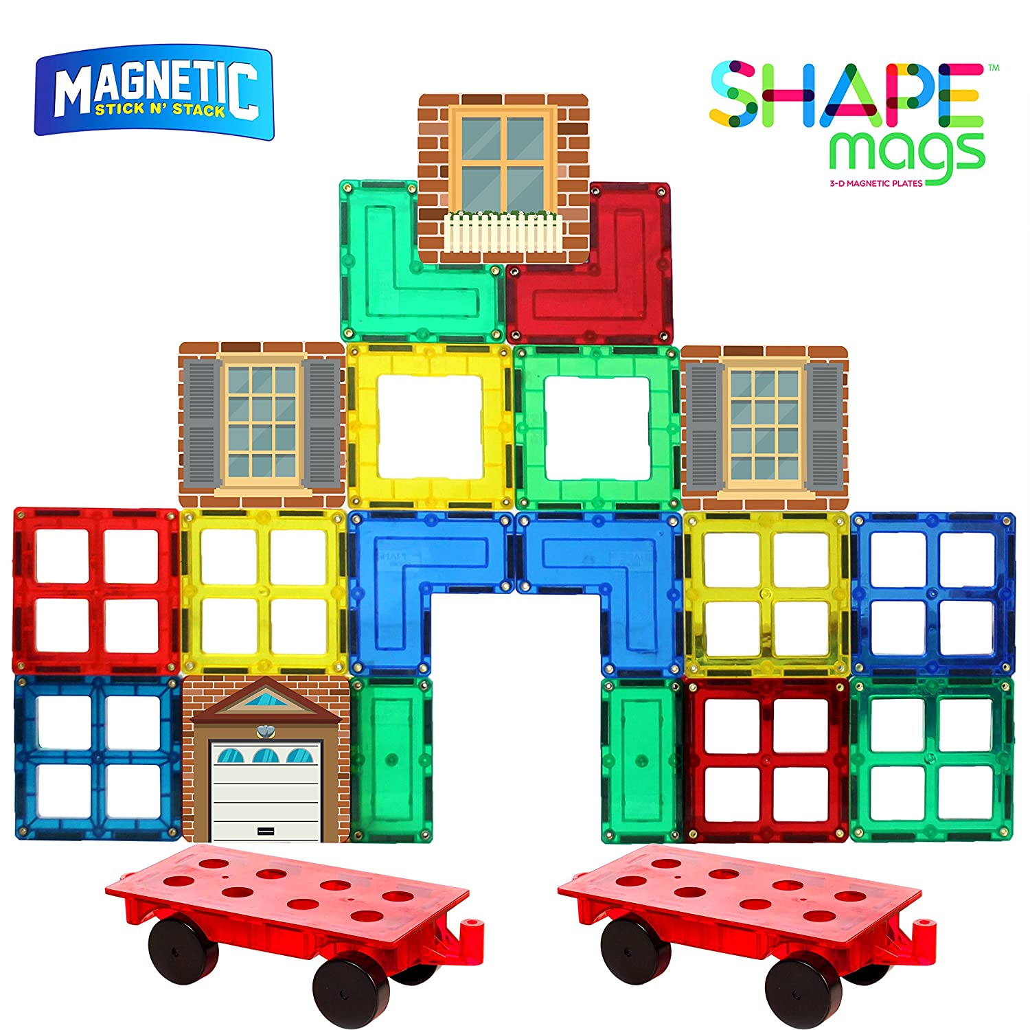 Shapemags 54 Piece Accessories Set, Made With Power+Magnets, 42 Clear Color Tiles, Includes 12 Stile Mags 2 and Car Bases Review