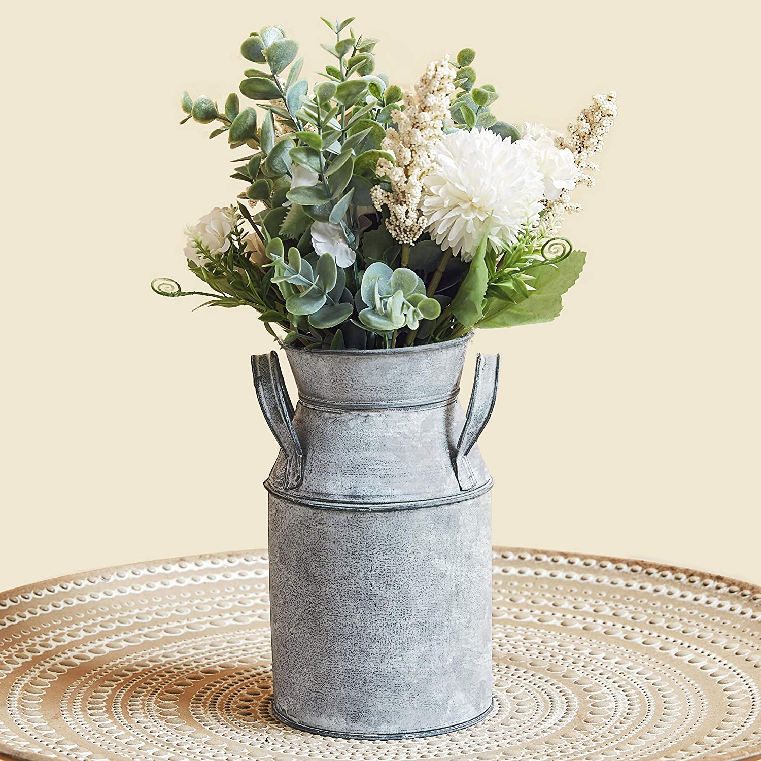 Amazon Com Vintage Antique Chic Vase Galvanized Metal Shabby Milk Can Country Rustic Farmhouse Table Decorative Flower Holder For Dining Living Room 7 4 H Kitchen Dining