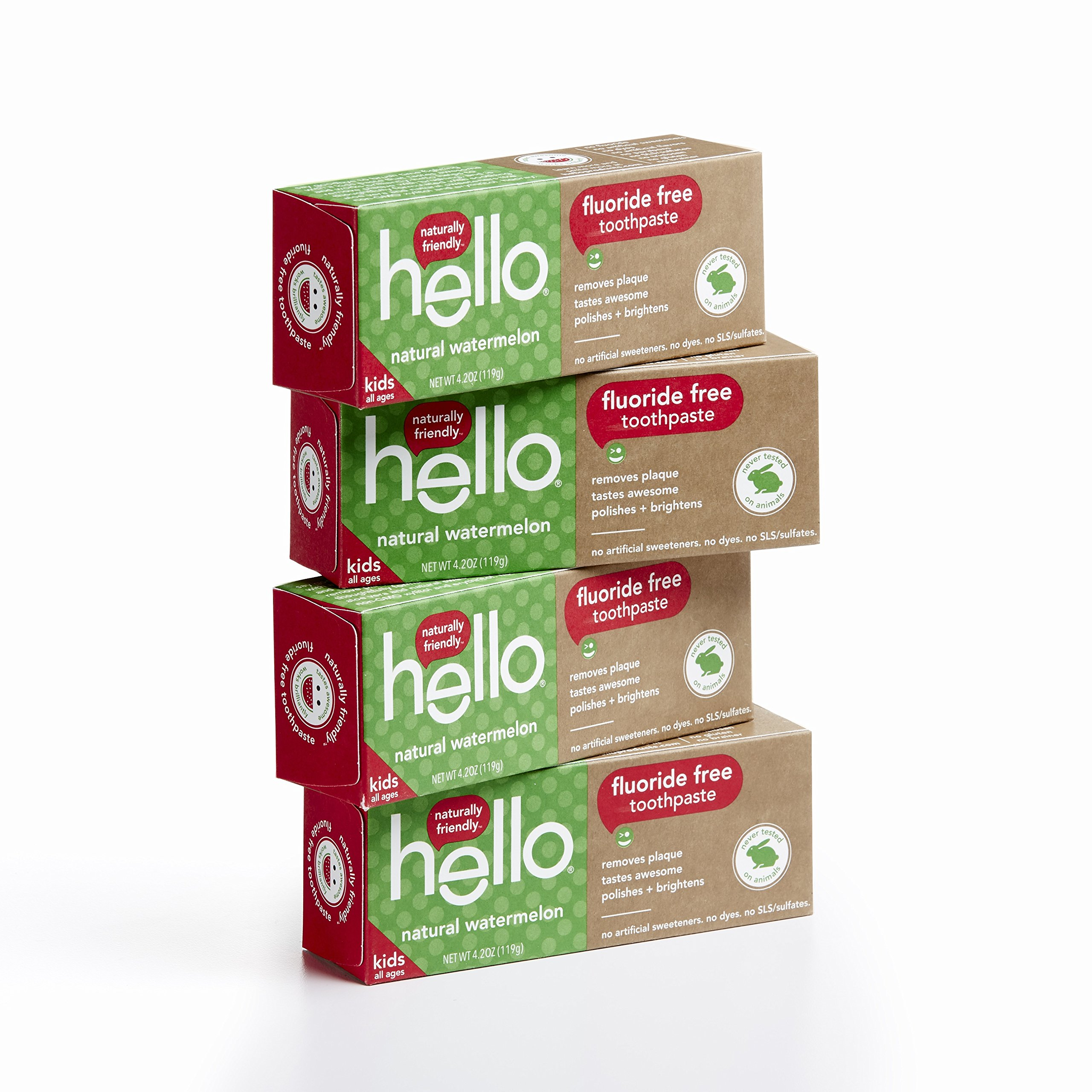 Hello Oral Care Fluoride Free Toothpaste for Kids 3 Months+, Natural Watermelon, 4 Count