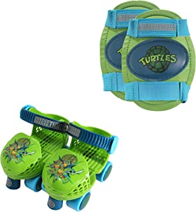 PlayWheels Teenage Mutant Ninja Turtles Roller Skates with Knee Pads, Green/Blue, Junior Size 6-12