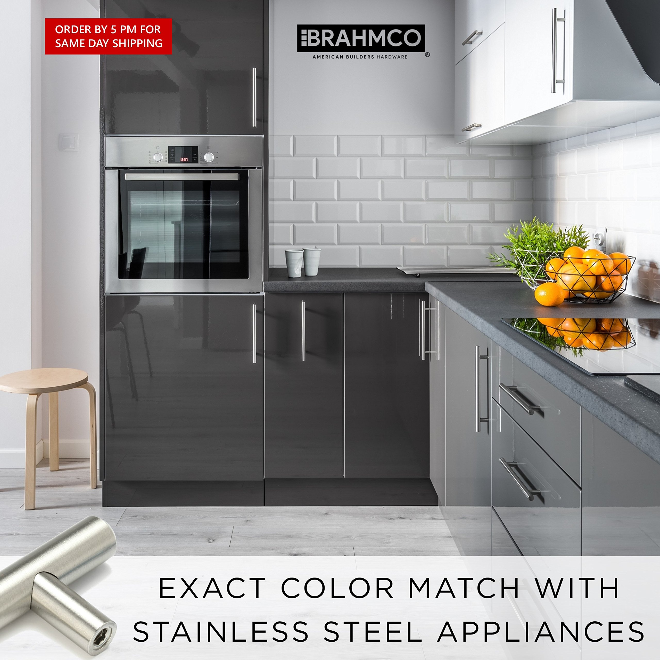 30 Pack | 5'' Stainless Steel T Bar Cabinet Pulls: 3 Inch Hole Spacing | Brahmco 180-5 | Modern Euro Style Brushed Satin Nickel Finish Kitchen Cabinet Handles Hardware/Drawer by Brahmco (Image #6)