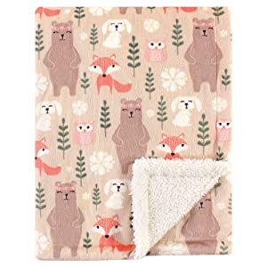 Hudson Baby Unisex Baby Plush Blanket with Sherpa Back, Girl Forest, One Size