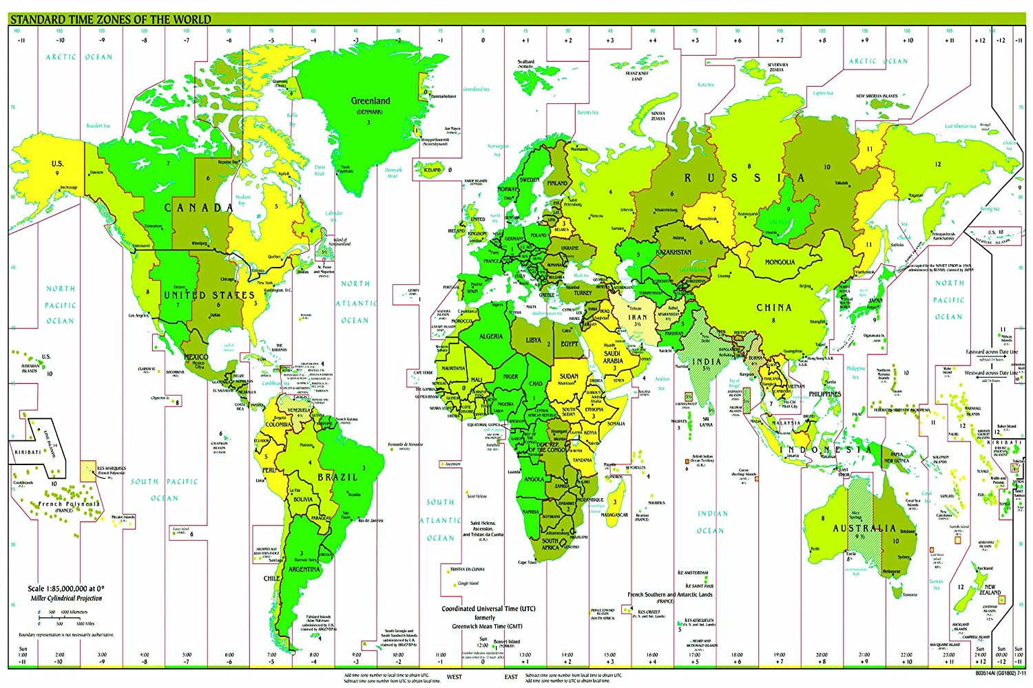 Amazoncom Huge Laminated Time Zone World Map Poster Wall Chart - Map chart us political