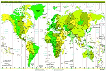 Huge laminated time zone world map poster wall chart political huge laminated time zone world map poster wall chart political atlas educational teaching gumiabroncs Choice Image
