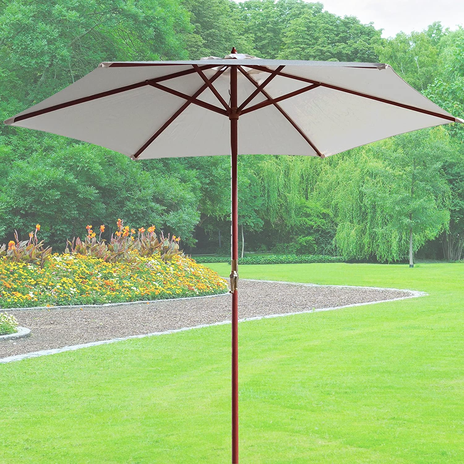 2.7M Crank Handle Round Outdoor Wooden Beige Cream Parasol Garden Furniture Patio Sun Shade Marko