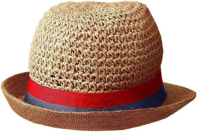 b41de21ac Steve Madden Women's Paper Crochet & Jute Short Brim Fedora with Two ...