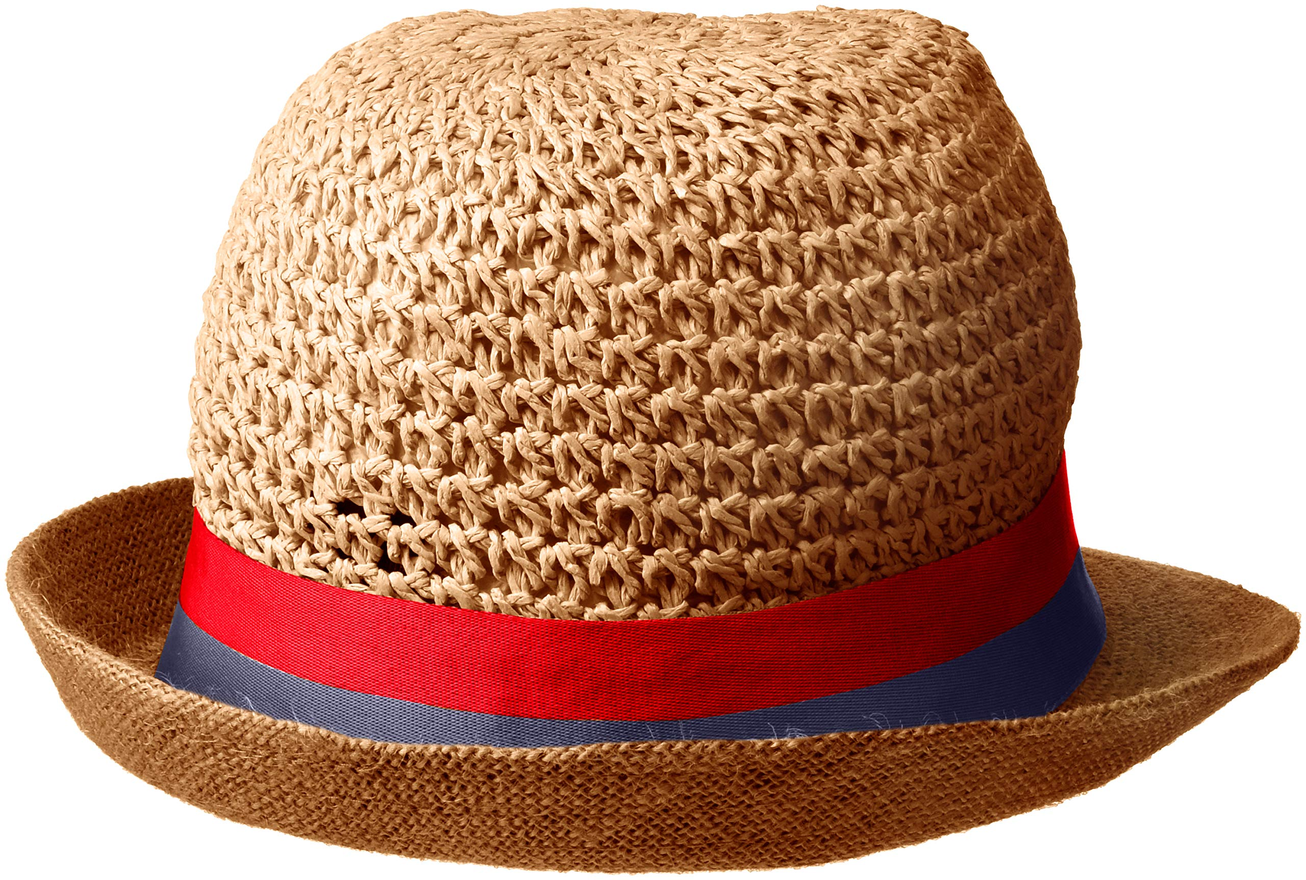 Steve Madden Women's Paper Crochet & Jute Short Brim Fedora with Two Tone Band, Navy One Size by Steve Madden (Image #2)