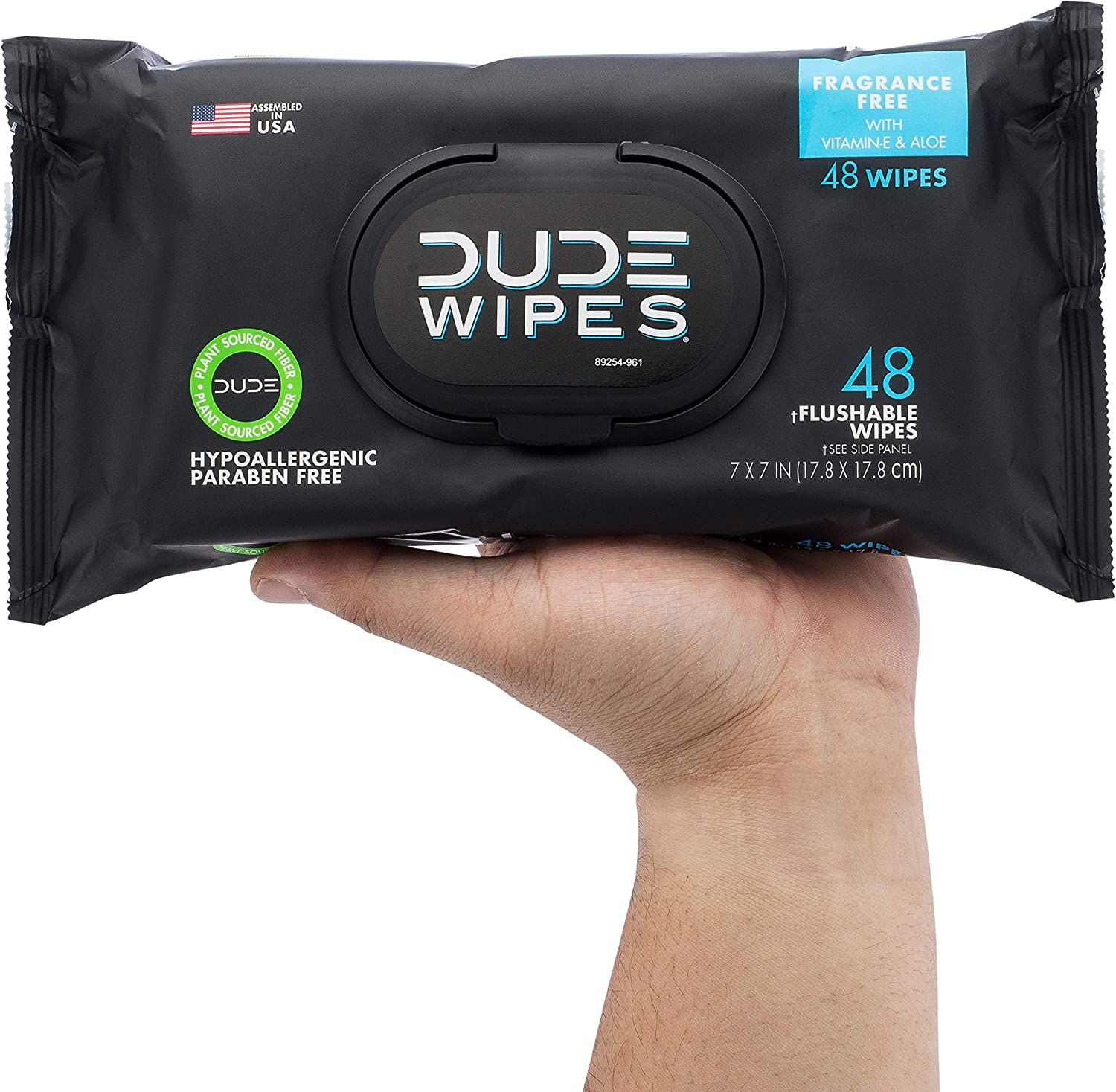 DUDE Wipes Flushable Wipes Dispenser (6 Packs, 48 Wipes Each), Unscented Wet Wipes with Vitamin-E & Aloe for at-Home Use, Septic and Sewer Safe: Computers & Accessories