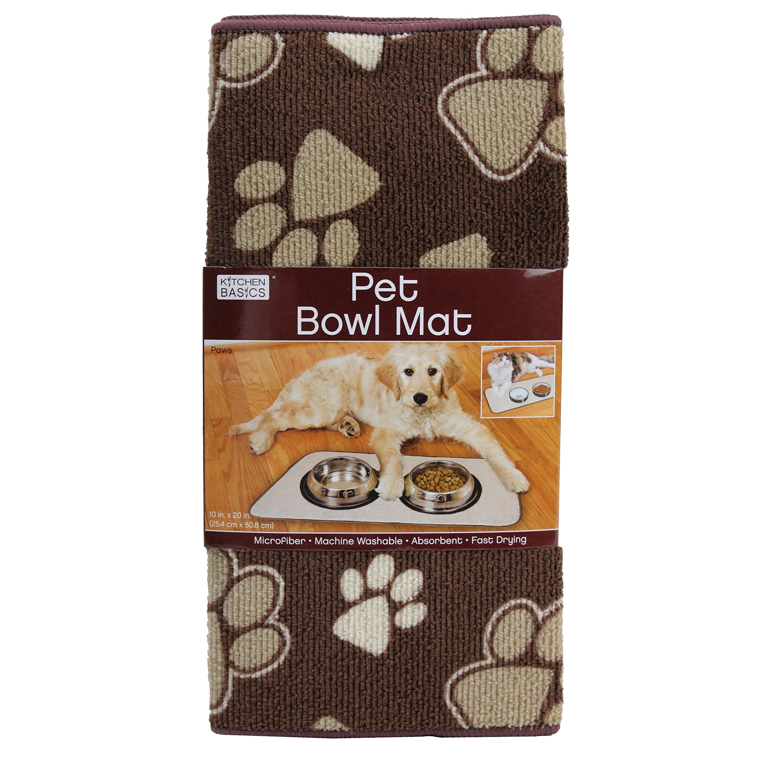 Kitchen Basics Microfiber Anti-Skid Pet Bowl Mat - Paws - 10'' x 20''