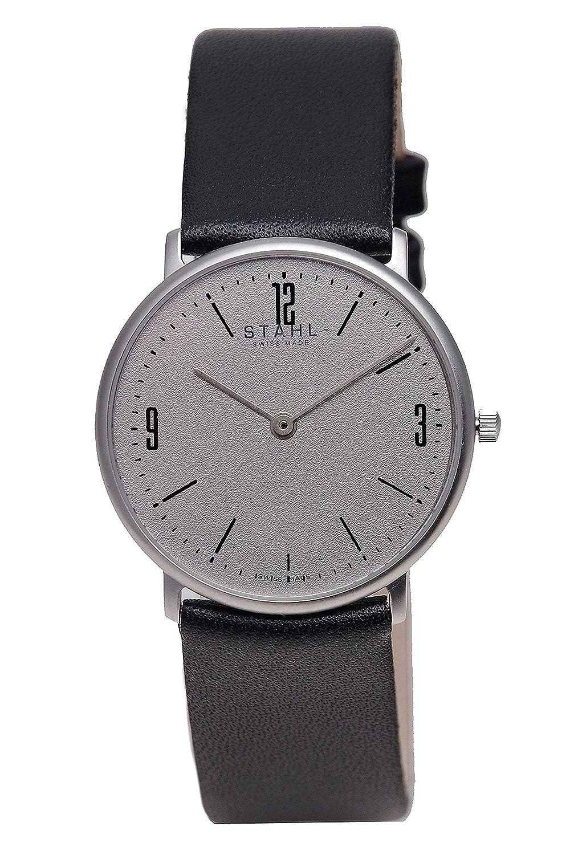 Stahl Swiss Made Armbanduhr Modell: st61349 – Edelstahl – Groß 33 mm Fall – Arabisch und Bar Grau Zifferblatt