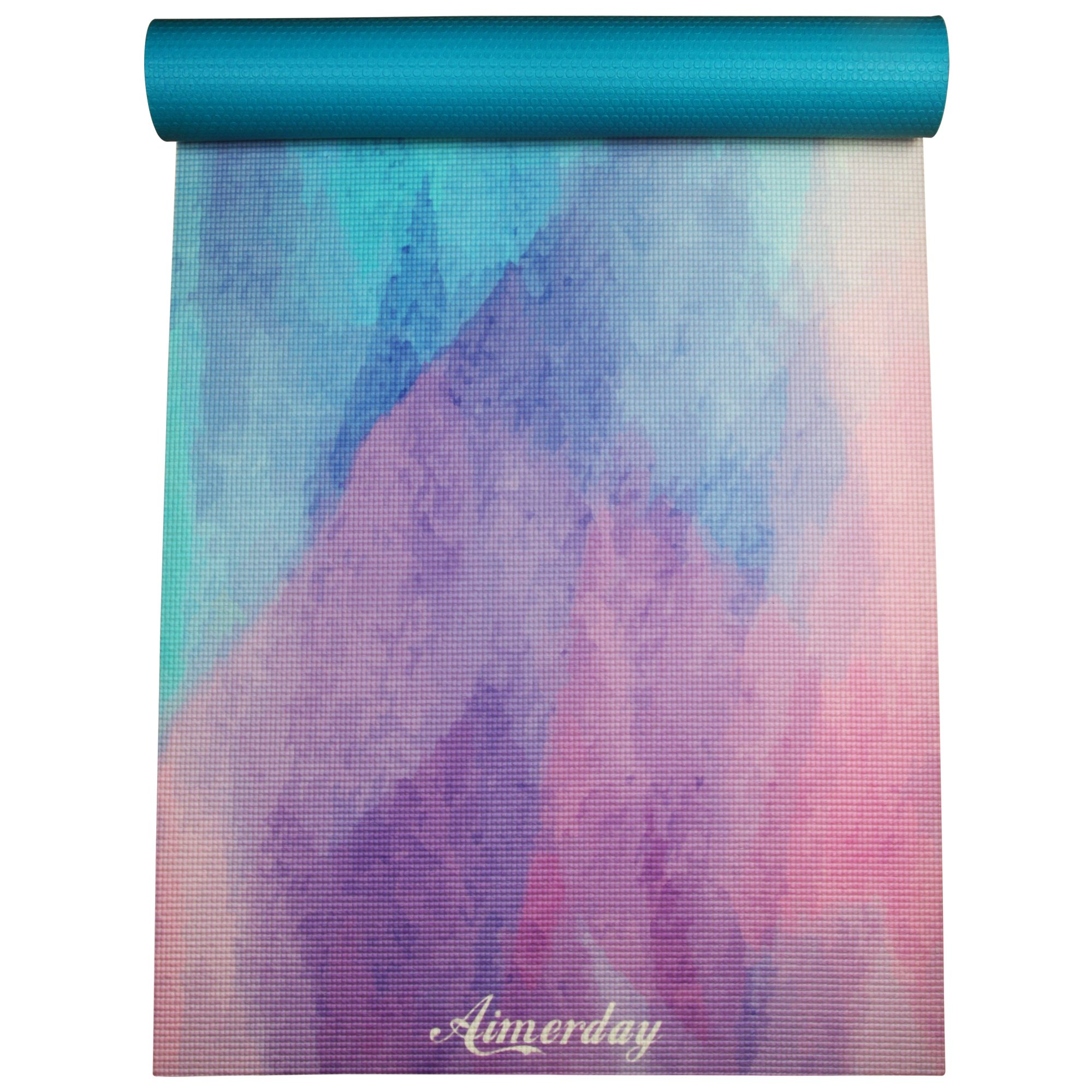 AIMERDAY Premium Printed Yoga Mat 72-Inch Long 1/4'' Extra Thick High Density Eco-Friendly Non Slip Exercise Mats for Pilates, Fitness, Hot Yoga with Carrying Strap and Travel Bag