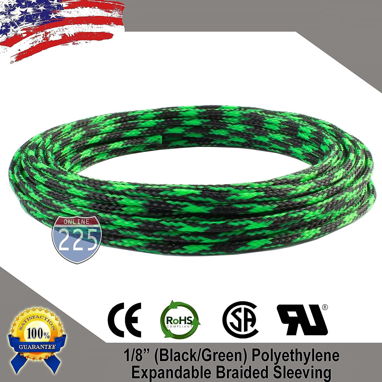 PET Nylon Sleeve Braided Cable Sleeving Loom Tubing 50ft 3mm-20mm Black Lot
