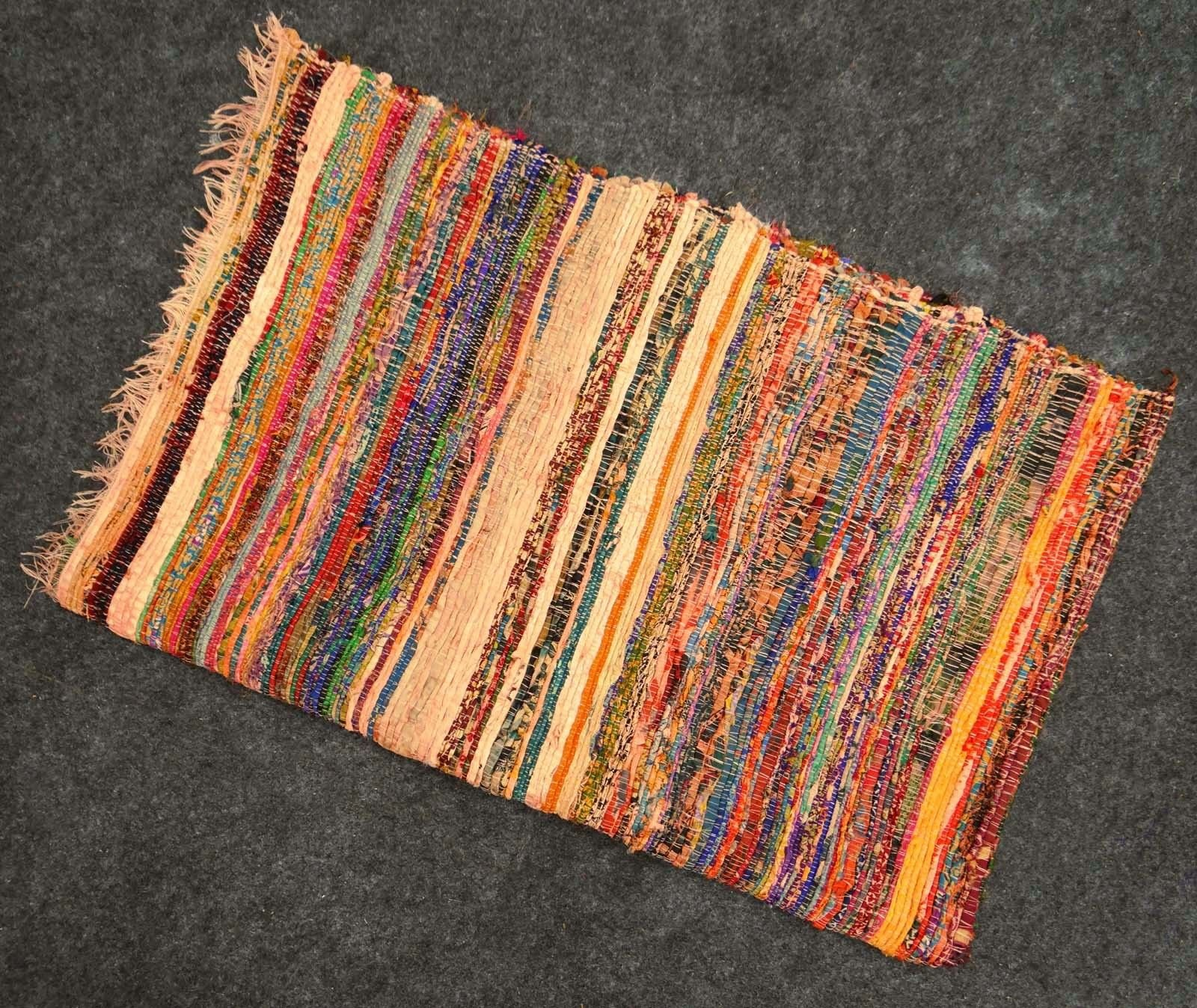 Fair Trade Handmade Rag Rug Chindi Rug Multi Colored