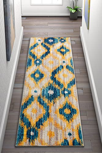 Well Woven Global Bohemian Ikat Blue Yellow Vibrant Modern Tribal Pattern Area Rug 2×7 2 3 x 7 3 Runner Contemporary Thick Soft Plush