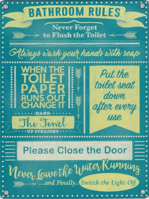 Neuf 15/x 20/cm de salle de bain wc Rules Panneau publicitaire en m/étal