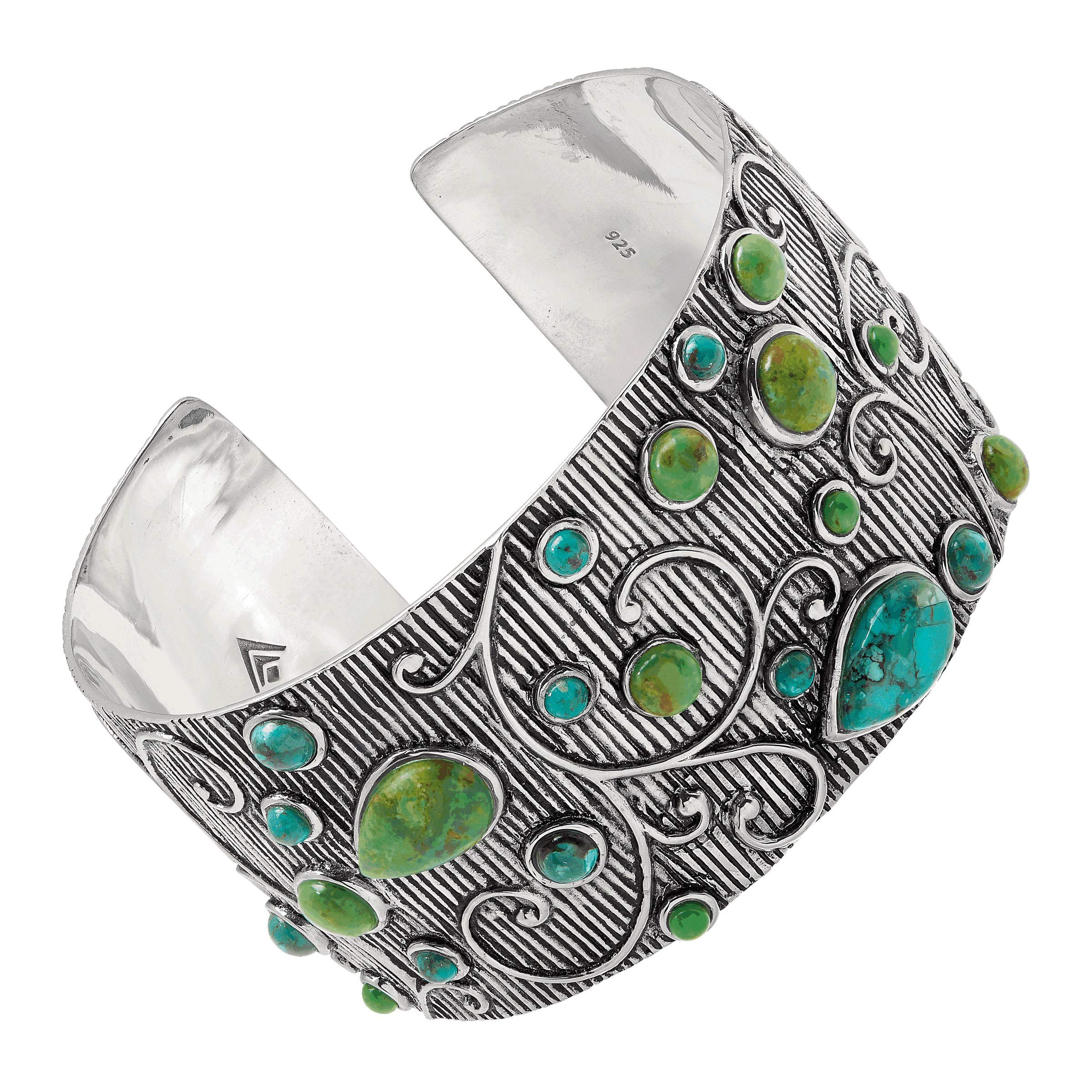 Silpada 'Prints Charming' Compressed Turquoise & Green Turquoise Textured Cuff Bracelet in Sterling Silver
