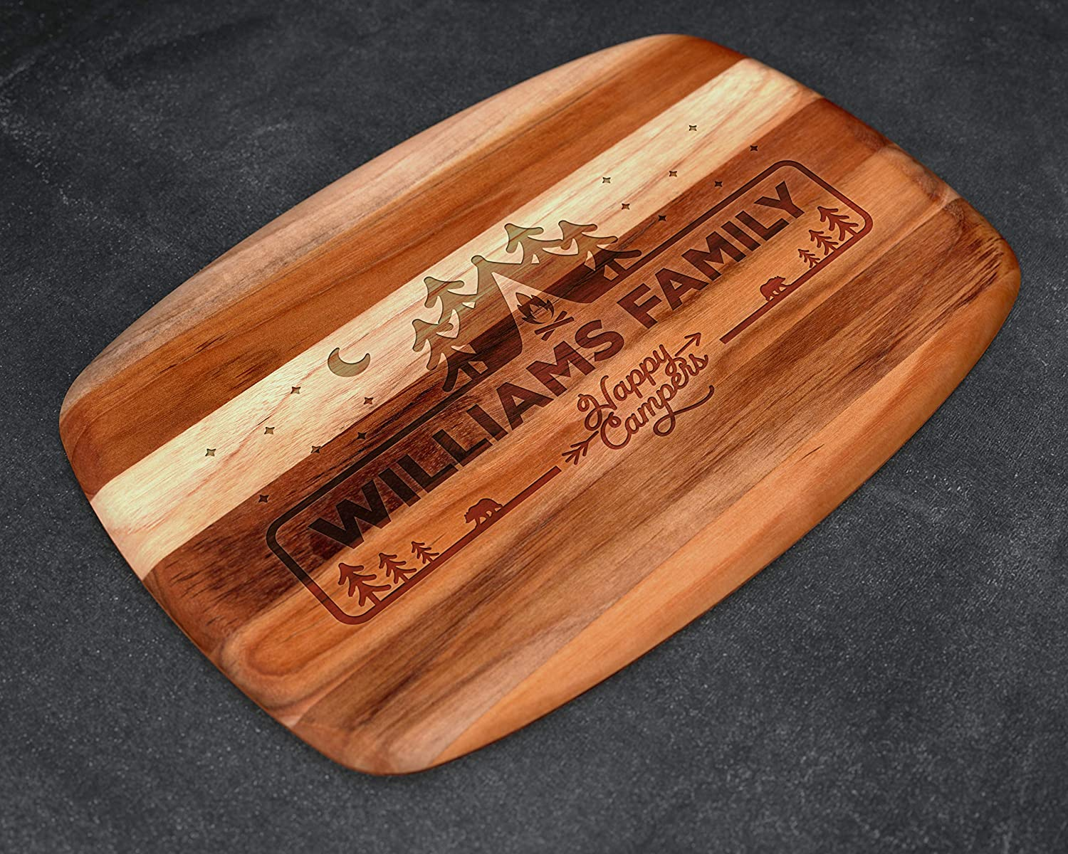 Camping Gift Camping Gifts Camping Decor Christmas Gift for Him Camping Sign Happy Campers Camping Gear Husband Gift Dad Gifts Personalized Teak Cutting Board gifts for him