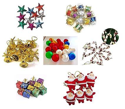 KRIWIN® 70 pcs Small/Mini Christmas Tree Decorations Set (Balls, Bells, Gifts, Drums, Stars, Candy Sticks & Santa Claus)