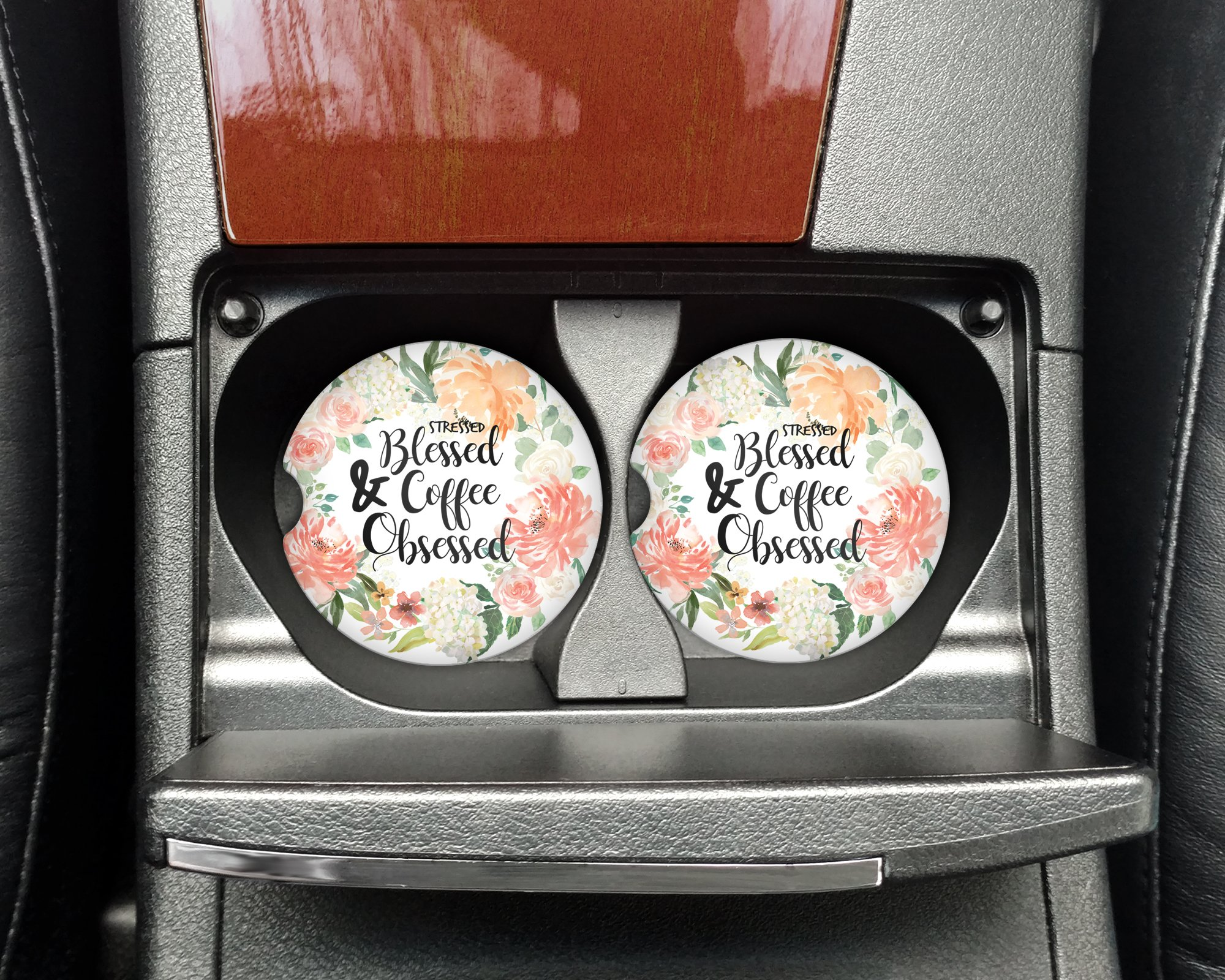 Stressed Blessed and Coffee Obsessed - Car coasters - Sandstone auto cup holder coasters Christian motivational - Gifts for women