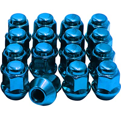 "Wheel Accessories Parts Set of 16 ATV UTV Bulge Acorn Lug Nut 17mm Hex 1.10"" (27.94mm) Long (Blue, 3/8x24): Automotive [5Bkhe2004244]"