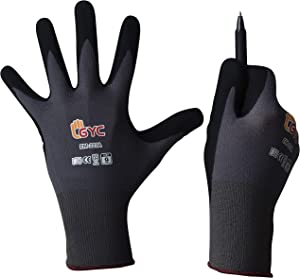 GYC Gloves, Sanitized, DIY Gardening, Food Contact ECO Micro Finish Safety Work Gloves - 10 Pairs Pack - General Work Glove, Comfortable Grip, Anti-Slip (EM-223A / SIZE 8 - Medium)