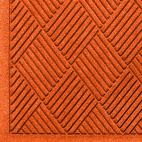 M A Matting 221 Orange Polypropylene WaterHog Fashion Diamond Entrance Mat, 6 Length x 4 Width, for Indoor Outdoor
