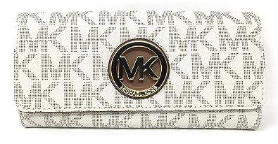 bf8d0a9494fbae Amazon.com: Michael Kors Signature PVC Fulton Flap Wallet (Vanilla ...