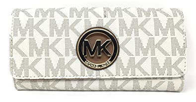 426b9c206ebc94 Amazon.com: Michael Kors Signature PVC Fulton Flap Wallet (Vanilla ...