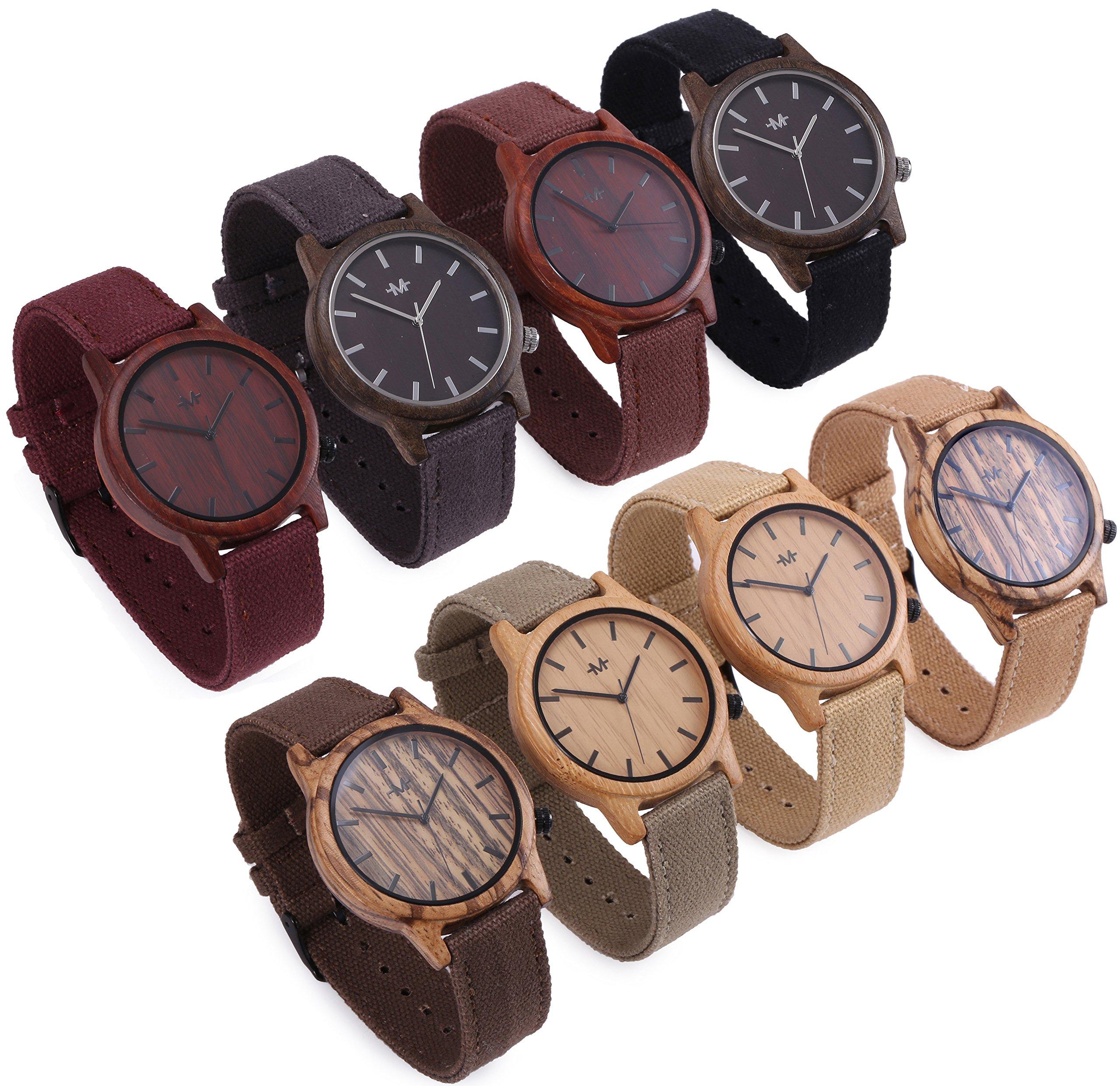 Marino Mens Wooden Watch - Wrist watches for Men - Dress Wood Watch (One Size, Khaki - Canvas Band) by Marino Avenue (Image #2)