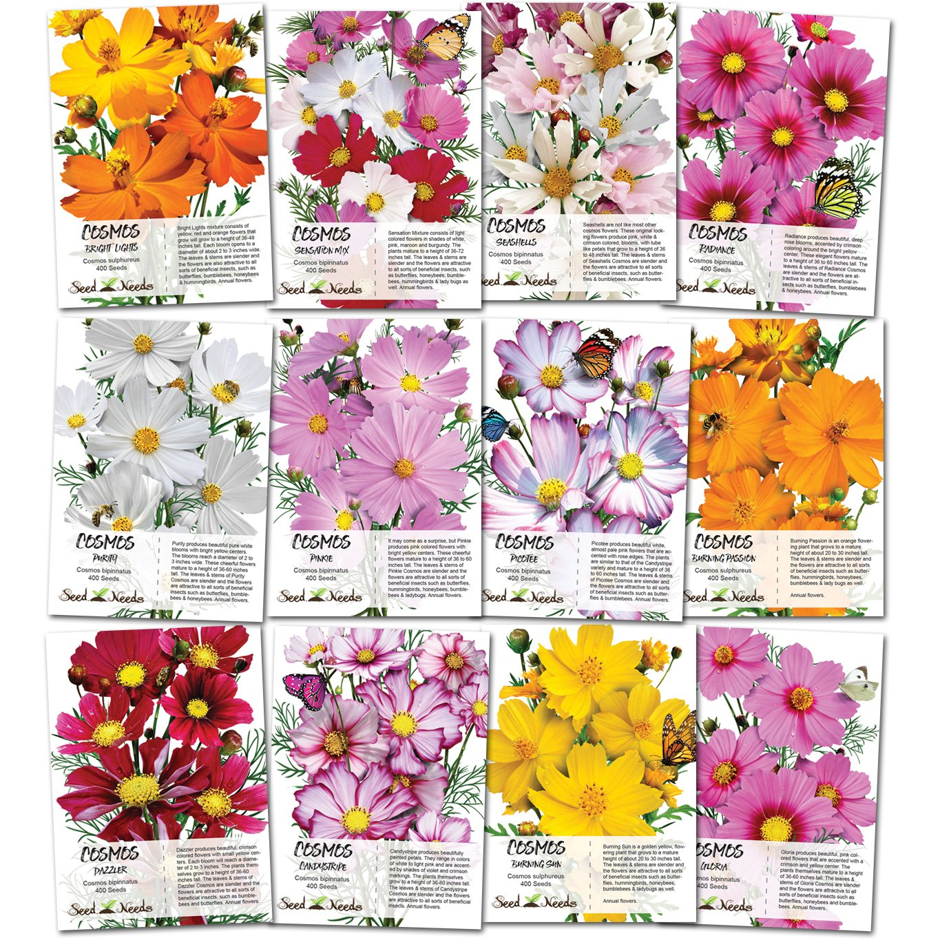 Amazon Seed Needs Cosmos Wildflower Seed Packet Collection 12