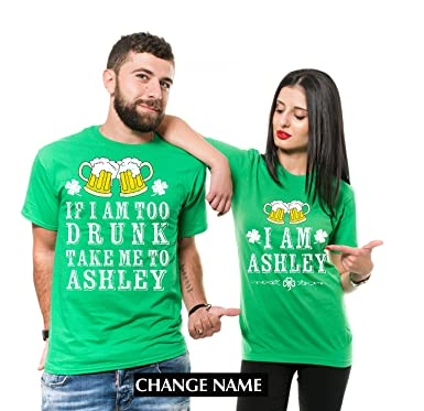 d91f28767 Silk Road Tees Custom Name ST. Patrick's Day Drinking Shirts Party Couple  Matching Funny Pub