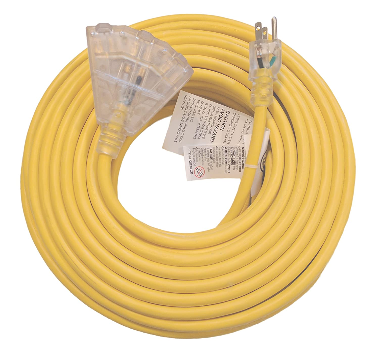 100 Ft 12 Gauge Heavy Duty Indoor Outdoor Sjtw Lighted Triple Outlet Wiring Multiple Outlets Pigtail Extension Cord By Watts Wire Yellow Foot Awg Copper Multi