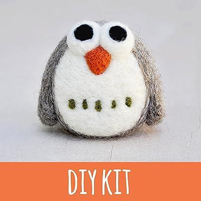 Needle felting Kit, beginner, owl, felting starter kit, craft kit for adults, diy kit for adults