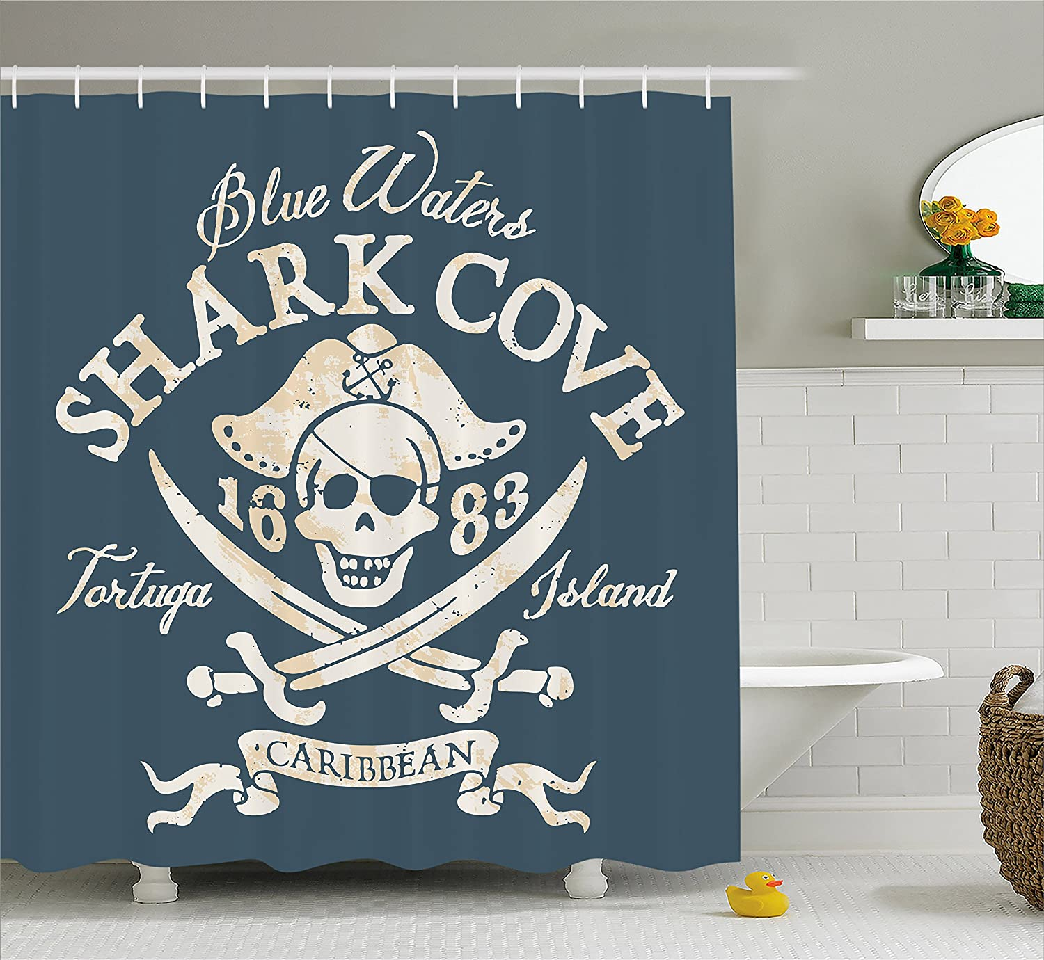 """Ambesonne Pirate Shower Curtain, Shark Cove Tortuga Island Caribbean Waters Retro Jolly Roger, Cloth Fabric Bathroom Decor Set with Hooks, 70"""" Long, Mustard Blue"""