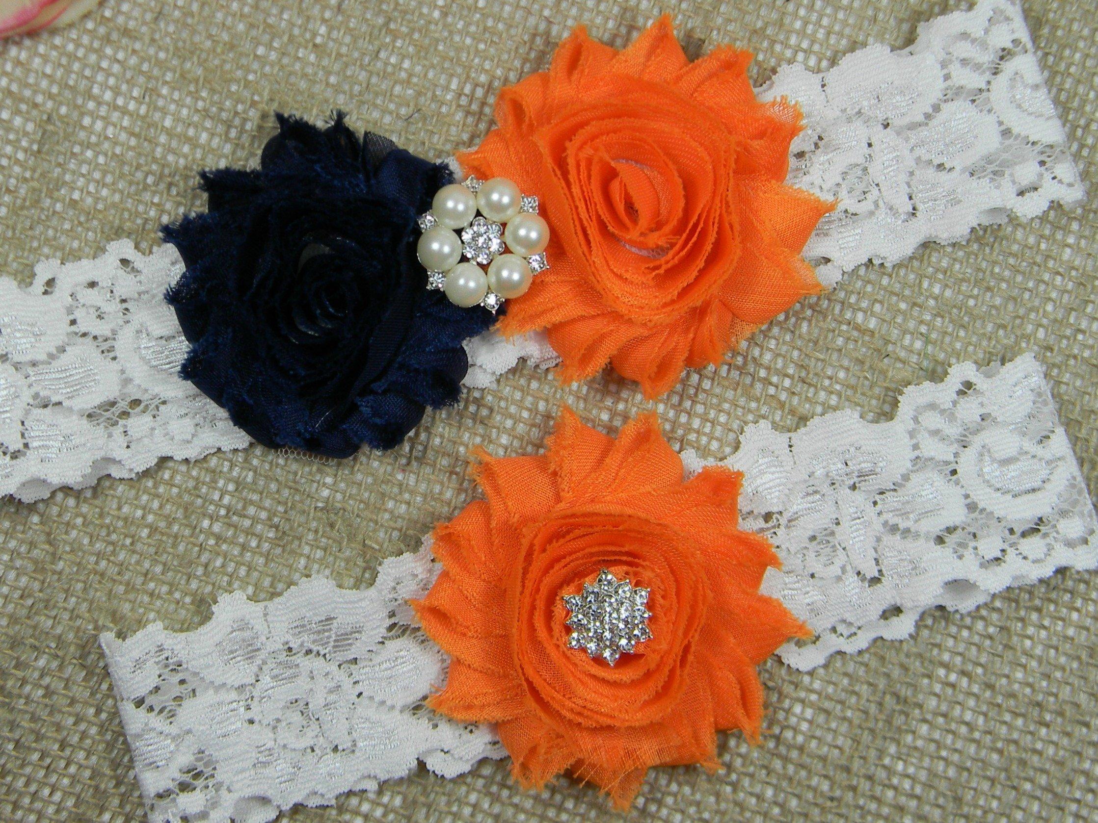 Navy Blue and Orange Garter, Wedding Garter Set, Bridal Garter Belt, Keepsake and Toss Stretch Lace Garters