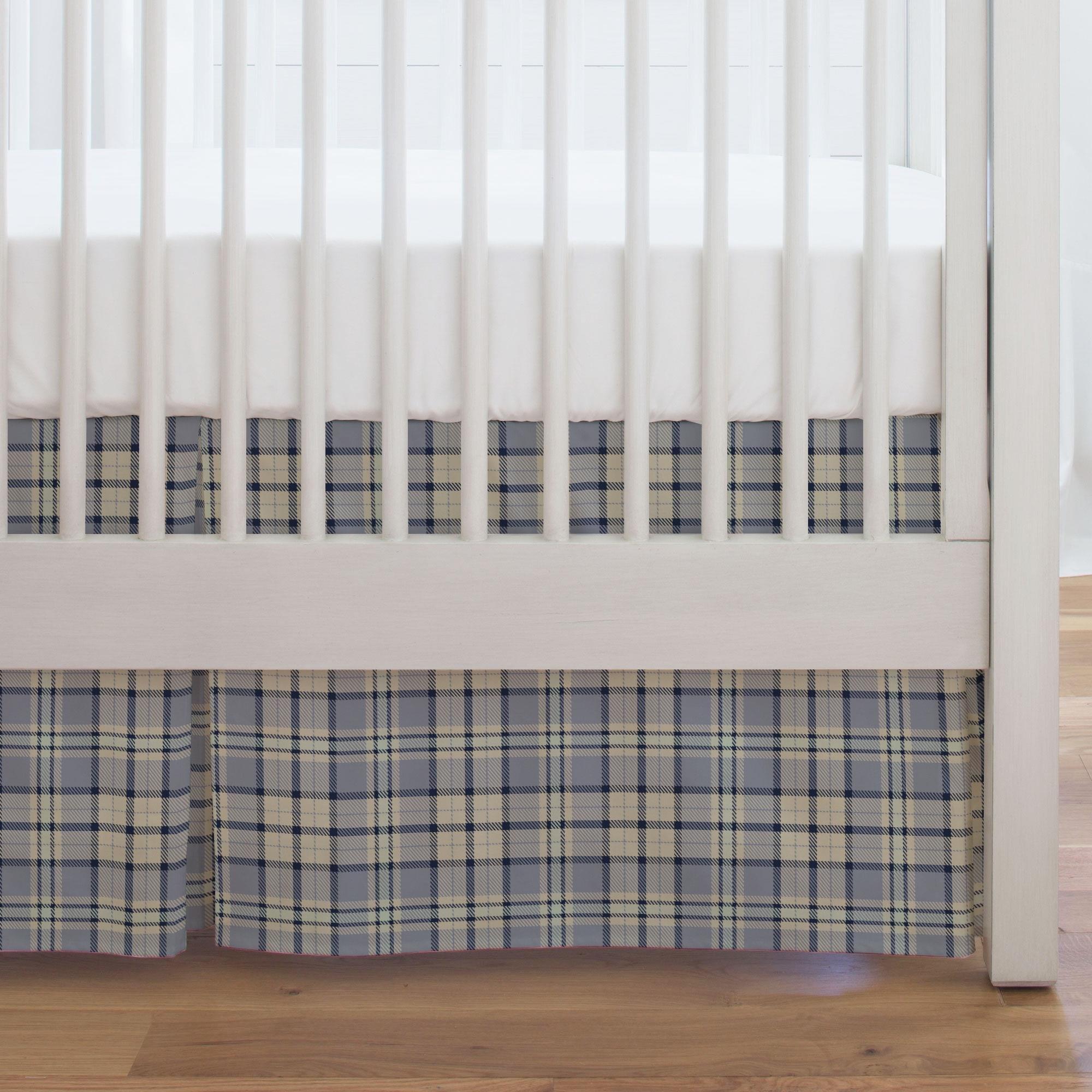 Carousel Designs Seafoam and River Plaid Crib Skirt Single-Pleat 17-Inch Length - Organic 100% Cotton Crib Skirt - Made in The USA by Carousel Designs