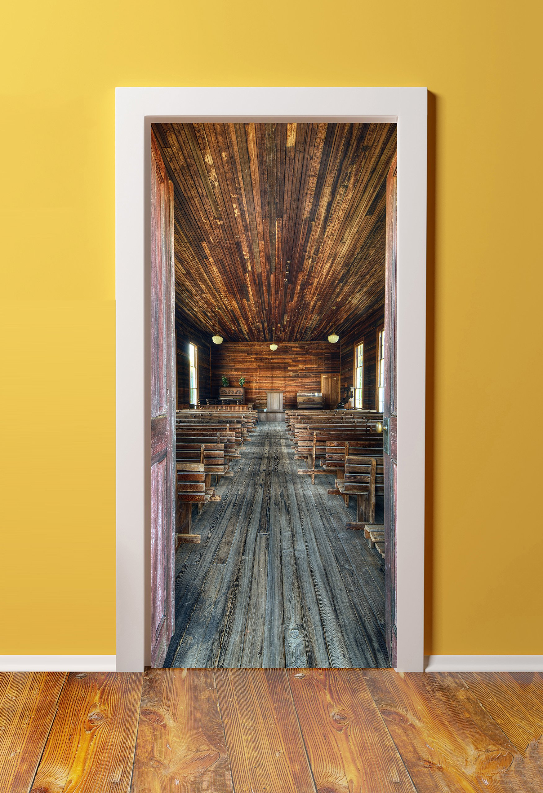 WindowPix 36x80 3D Door (Sticker) Murals - PEEL & STICK - Made from tear-proof, washable, durable material Back country chapel interior