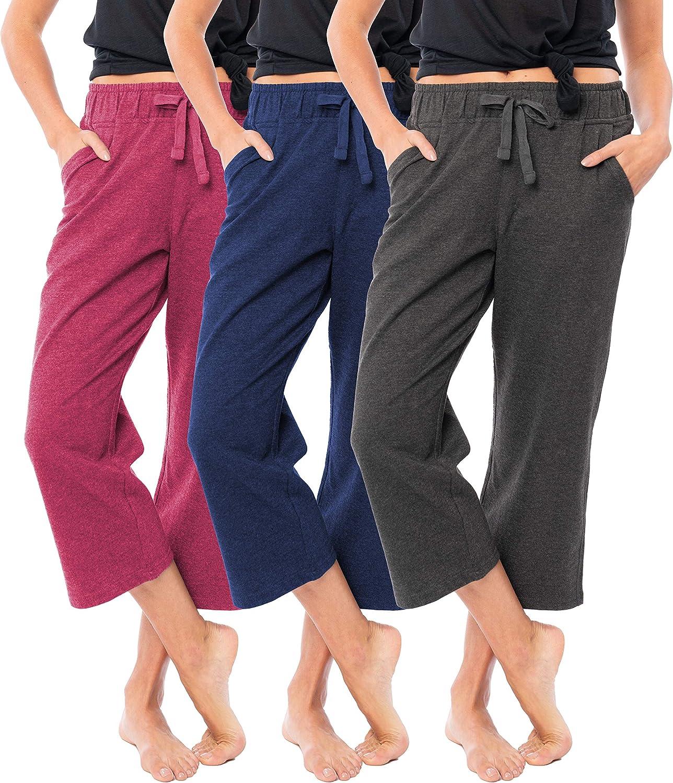 Sexy Basics Women's 3 Pack Soft French Terry Fleece Casual/Active Comfy Capri Jogger Yoga Bottom Lounge & Sweatpants